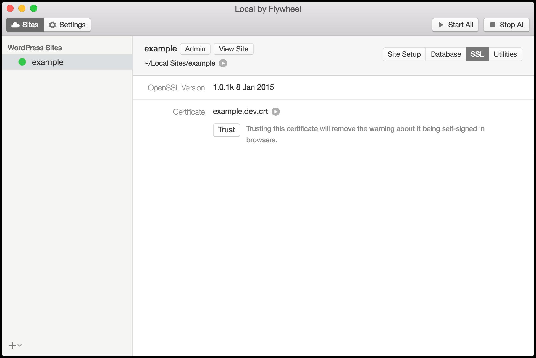 SSL 情報、設定画面