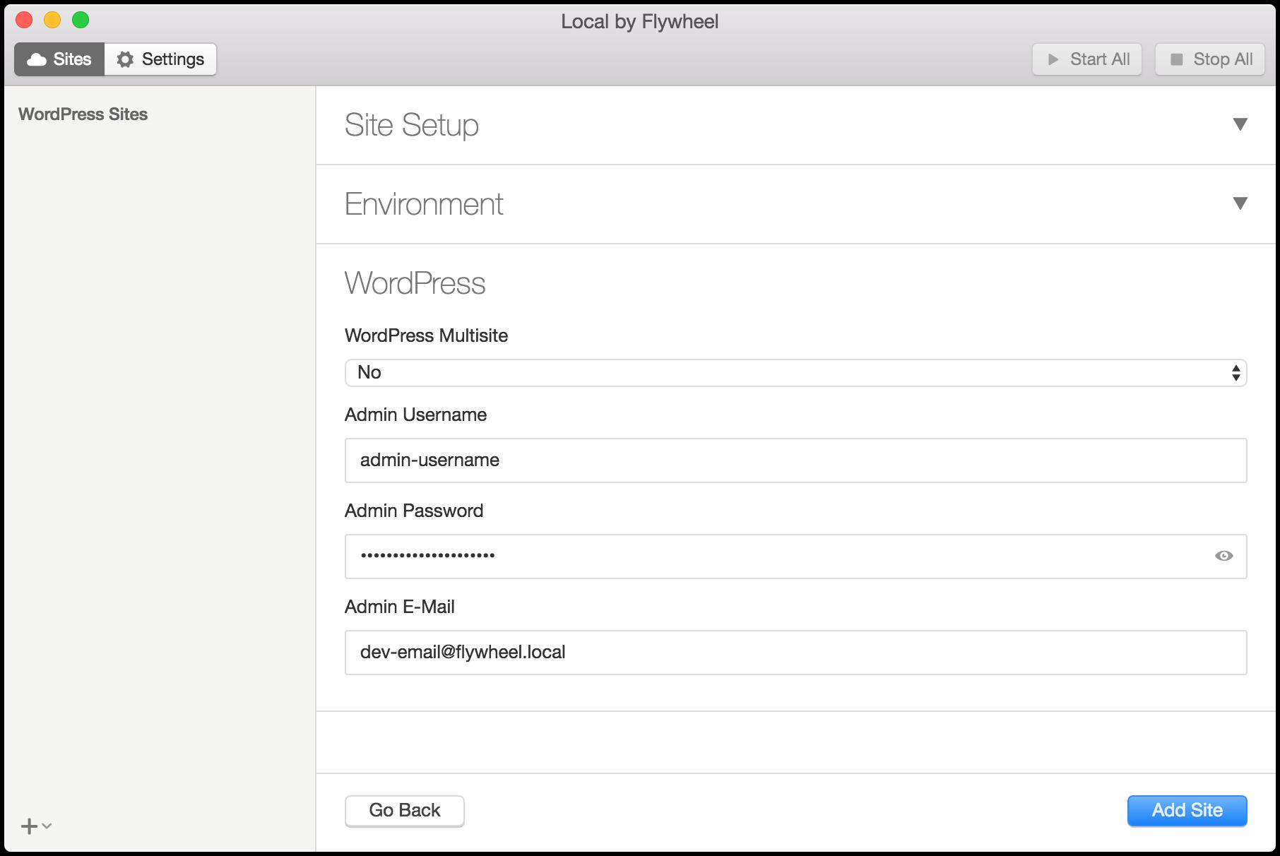 WordPress の設定画面